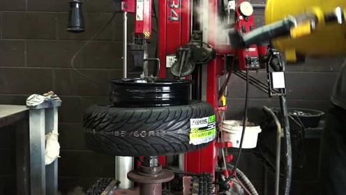 轮胎上轴全过程,镶嵌过程太麻烦,咻的一下弹进去