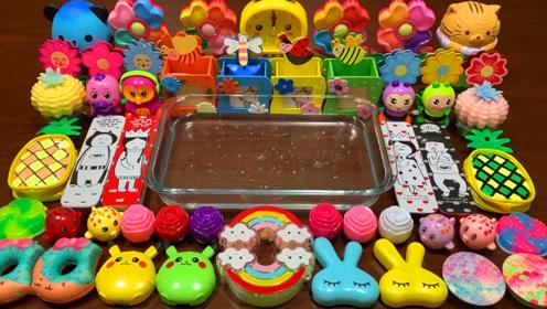 创意史莱姆教程,彩虹黏土+菠萝果冻泥+比卡丘彩泥,好玩解压不粘手