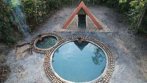 原始技术,野外建造庇护所,还在旁边挖个游泳池,这配套太高了