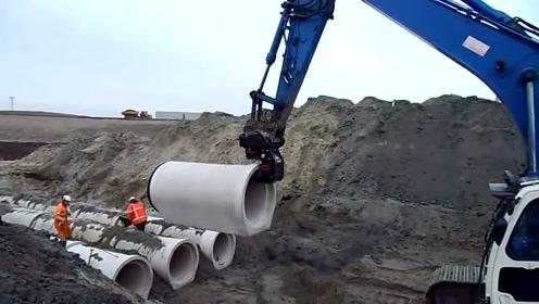 看德国建筑工人是怎样安装水泥管道的,这设备太实用了