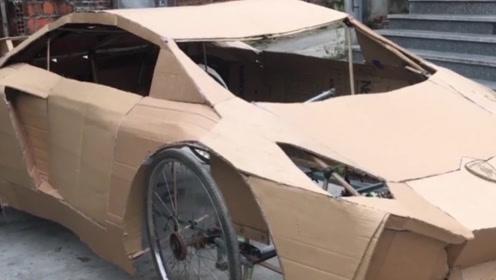 小伙用自行车打造兰博基尼,试车的那一刻,围观群众都傻眼了