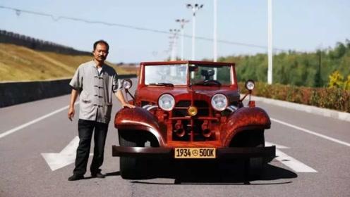 东北62岁农民耗时八年,花20万造木头奔驰跑车,时速可达90公里
