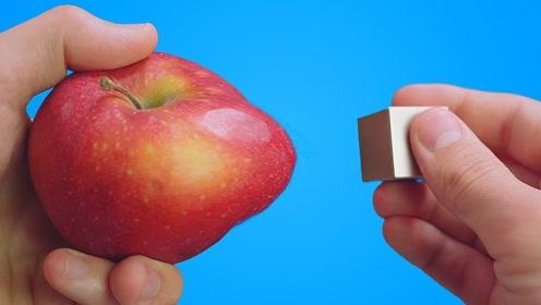 """钕磁铁的磁力有多强?老外用""""苹果""""测试,看苹果变化就明白了"""