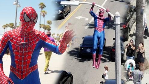 街头跑酷达人穿上蜘蛛侠服装,玩各种高难度动作,仿佛开了特效
