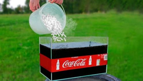 可乐与干冰会发生什么有趣的反应?小伙亲自尝试,一起来见识下!
