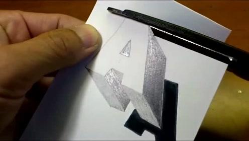 教你画出一个浮动的字母A,3D绘画太神奇了