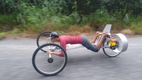 男子把自行车改装为喷射车,起步瞬间不淡定,驾驶姿势辣眼睛!