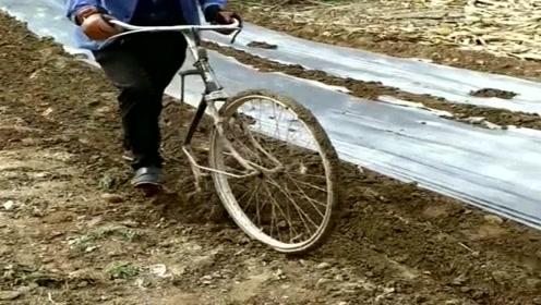 农民就是这么聪明,废旧的自行车,可以改成一件耕地神器!