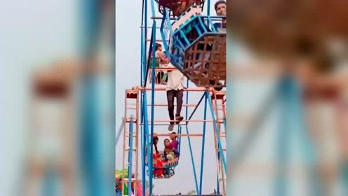 尼泊尔游乐场,摩天轮居然是人工的!