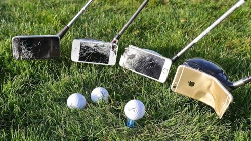 土豪拿苹果手机当高尔夫球杆,一杆子甩下去还真是过瘾