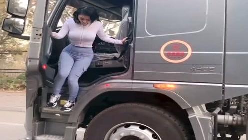 第一次见到这么漂亮的大货车女司机,身材这么好却要干这种苦活,屈才了!