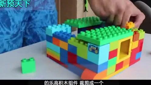 国外小伙用乐高制作了一个小房子,放到河里捕鱼,能成功吗?