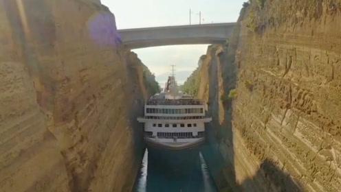 世界上最大的货轮,穿越世界上最狭窄的人工运河,第一视角太震撼