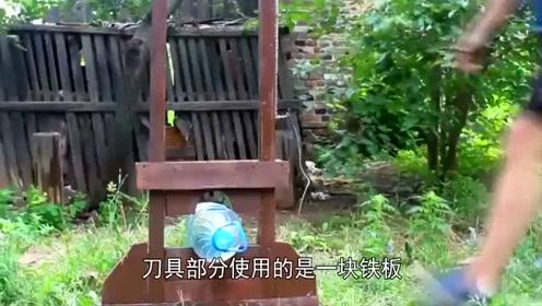 外国小伙自制一架断头台,将西瓜放上去会怎样?画面太残忍了!