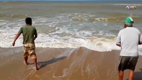 海边苦拉半天,没想到收获一条恐怖的大怪鱼