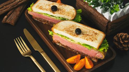 焦糖洋葱牛肉三明治,舌尖上的美食厚实诱人