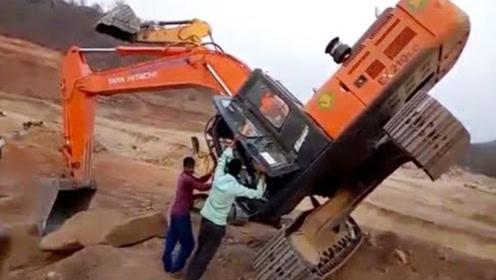 这是我见过最搞笑的挖掘机事故!它差点把三个挖掘机都害惨!