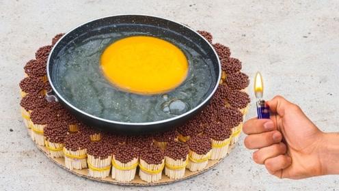 老外奇葩作死,10000根火柴烤鸵鸟蛋,成品突破你的想象