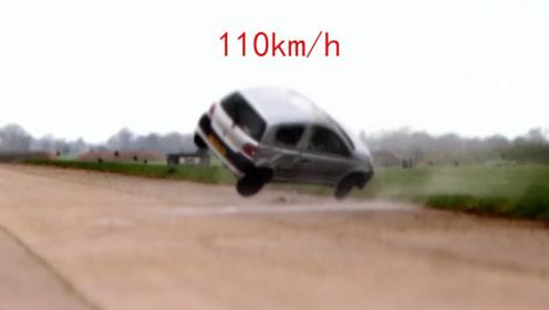 丰田无ESP挑战,110km/h极限挑战,一脚油门,测试员抬出来了!