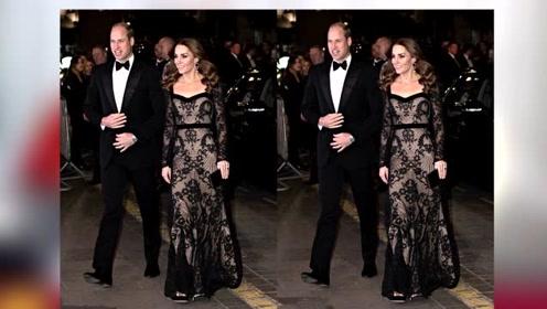 37岁生过3孩的凯特王妃越来越会穿黑色蕾丝裙优雅高贵气场全开