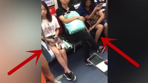 男子地铁车厢内欲对左右女子吃豆腐,被网友全程拍下!