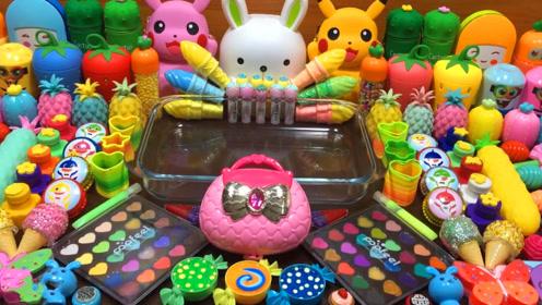 创意史莱姆教程,比卡丘彩泥+菠萝果冻泥+亮彩饰品,好玩解压不粘手