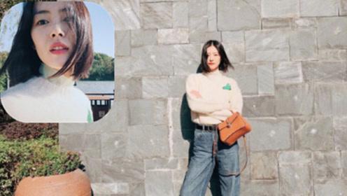 刘雯最新私服造型 简单的毛衣配牛仔宽裤 舒适利落
