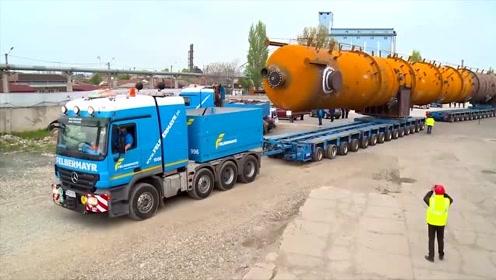 超大件管道运输,重80吨,长40米,两辆货车分两道运输