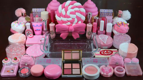粉色无硼砂史莱姆教程,彩虹黏土+冰激凌彩泥+化妆粉+亮彩粉,超治愈呢