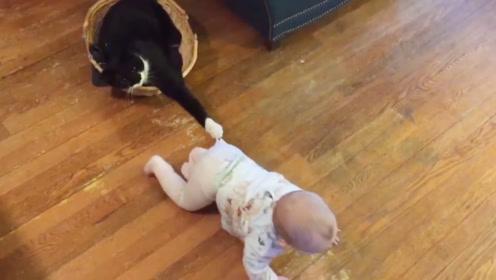 小女孩打不开房间门,无奈只能低头求助猫咪,猫咪:看我的表演