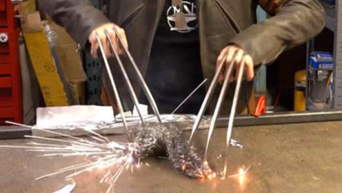 国外牛人做出来的金刚狼的爪子,接触铁丝网那一刻,才是震撼的开始!