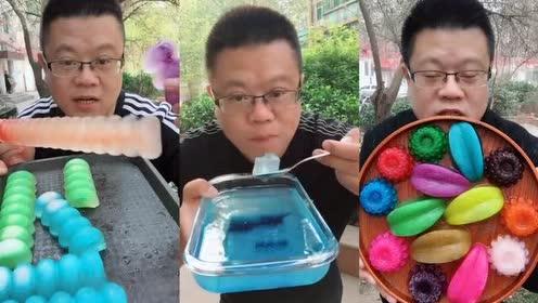 吃播大胃王!吃一口花茶冰块!淡粉色太漂亮了!