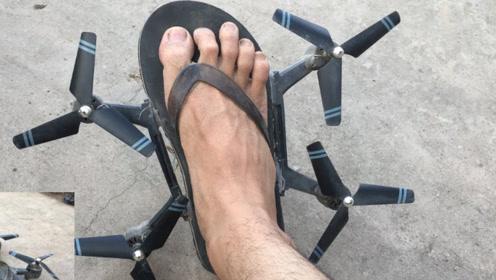 老外突发奇想将拖鞋改造成飞机,穿上之后能飞起来吗?网友:省了机票钱了