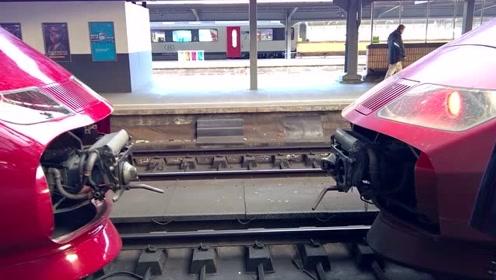 实拍火车与火车自动连接,好壮观,这是什么型号的火车头?