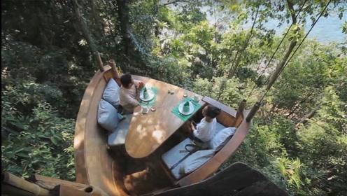 """""""原始森林""""中的网红餐厅,吃饭竟要上树,送餐员技术才是一流!"""