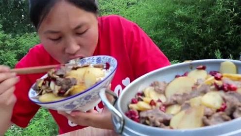最好吃的牛肉没有之一,胖妹一斤土豆一斤牛肉,干锅牛肉片吃过瘾
