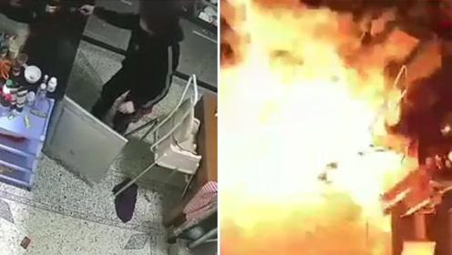 惊险!韶关一民房煤气泄漏爆燃 火势瞬间吞噬整个厨房