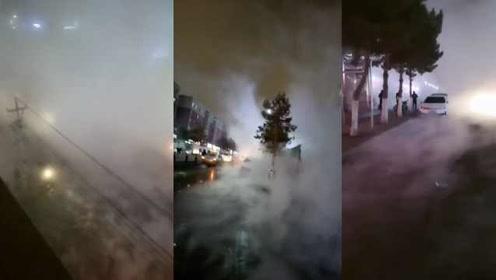 长春一热力管爆裂,7500户居民受影响,整条街如坠仙境
