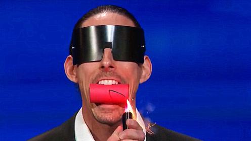 美国达人秀:男子上台把鞭炮含在嘴里,评委观众全都捂住了眼睛!