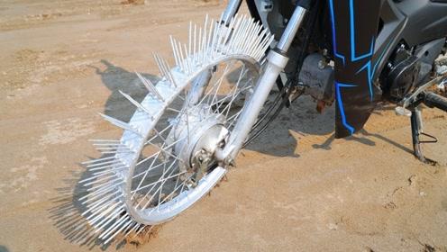 给摩托车轮胎装100根钢钉,一脚油门下去后,发生了意想不到的事情