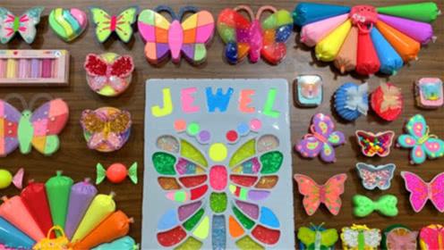 DIY史莱姆教程,彩虹裱花袋泥、漂亮的蝴蝶彩泥、小袋子泥