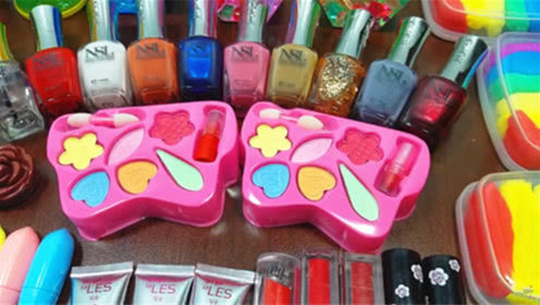 DIY史莱姆教程,超多化妆品混合彩虹泥、珍珠泥、雪花泥