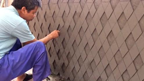 农村牛人给墙砖造型,这手艺太厉害了,给师傅500一天真不多