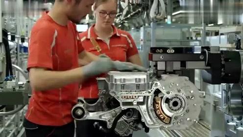 实拍德国保时捷首款Taycan纯电动车动力总成装配过程!