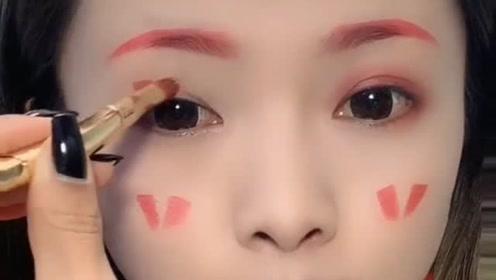 挑战一支口红画出整个妆容,超级简单又好看