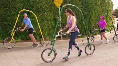 牛人发明奇葩自行车,没有脚踏板,光靠双腿就能风驰电掣