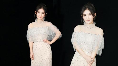 谢娜穿薄纱礼服凹造型 太阳女神很美很时髦