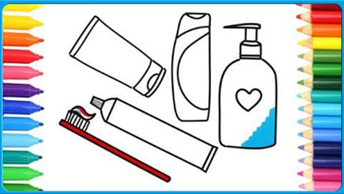 亲子颜色学习彩绘简笔画儿童牙刷 牙膏是彩虹色的耶 小猪佩奇