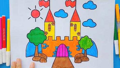 神秘的城堡简笔画涂色教程