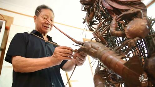 79岁大爷铜雕《海的女儿》,百种海洋生物活灵活现,惊艳中外
